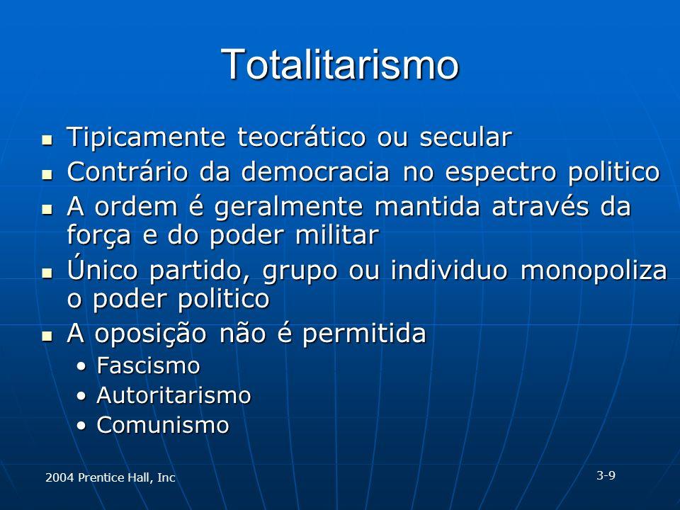 2004 Prentice Hall, Inc Totalitarismo Tipicamente teocrático ou secular Tipicamente teocrático ou secular Contrário da democracia no espectro politico