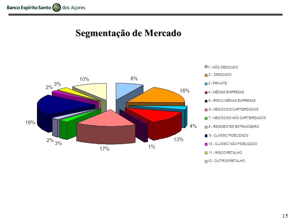 15 8% 18% 4% 13% 1% 17% 3% 2% 19% 2% 3% 10% 1 - NÃO DEDICADO 2 - DEDICADO 3 - PRIVATE 4 - MÉDIAS EMPRESAS 5 - RISCO MÉDIAS EMPRESAS 6 - NEGÓCIOS CARTEIRZADOS 7 - NEGÓCIOS NÃO CARTEIRZADOS 8 - RESIDENTES ESTRANGEIRO 9 - CLASSIC FIDELIZADO 10 - CLASSIC NÃO FIDELIZADO 11 - RISCO RETALHO 12 - OUTROS RETALHO Segmentação de Mercado