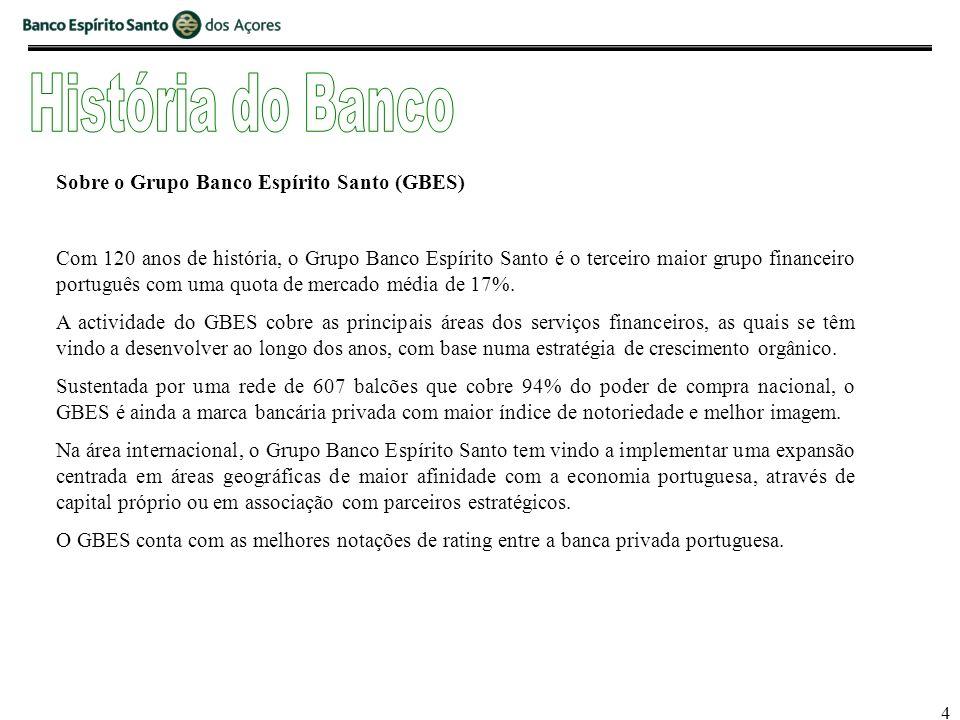 4 Sobre o Grupo Banco Espírito Santo (GBES) Com 120 anos de história, o Grupo Banco Espírito Santo é o terceiro maior grupo financeiro português com uma quota de mercado média de 17%.