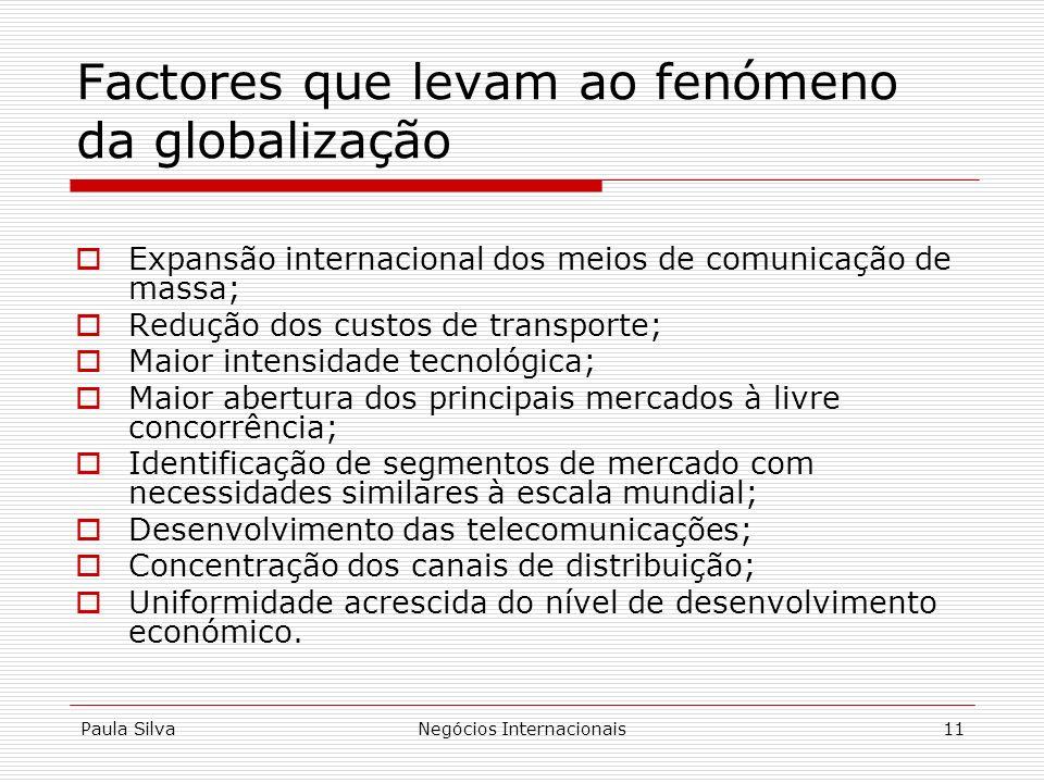 Paula SilvaNegócios Internacionais11 Factores que levam ao fenómeno da globalização Expansão internacional dos meios de comunicação de massa; Redução
