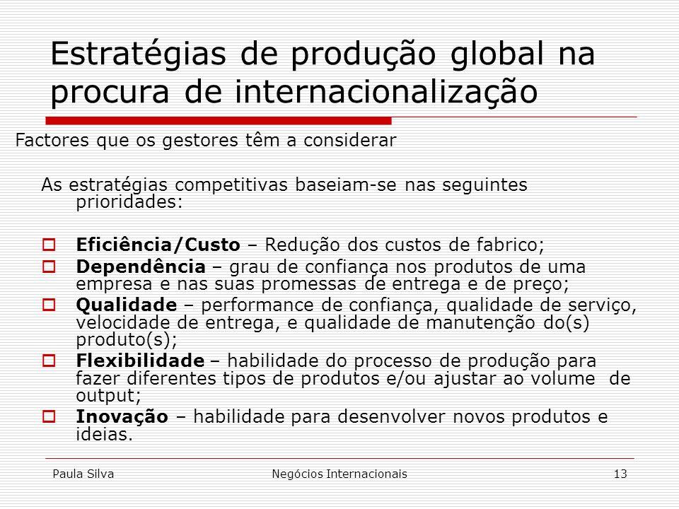 Paula SilvaNegócios Internacionais13 Estratégias de produção global na procura de internacionalização As estratégias competitivas baseiam-se nas segui