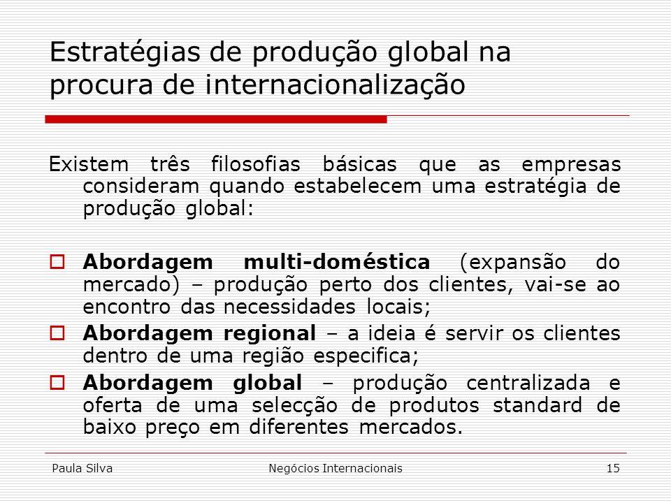Paula SilvaNegócios Internacionais15 Existem três filosofias básicas que as empresas consideram quando estabelecem uma estratégia de produção global: