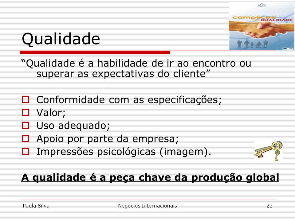 Paula SilvaNegócios Internacionais23 Qualidade Qualidade é a habilidade de ir ao encontro ou superar as expectativas do cliente Conformidade com as es