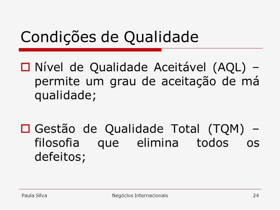 Paula SilvaNegócios Internacionais24 Condições de Qualidade Nível de Qualidade Aceitável (AQL) – permite um grau de aceitação de má qualidade; Gestão
