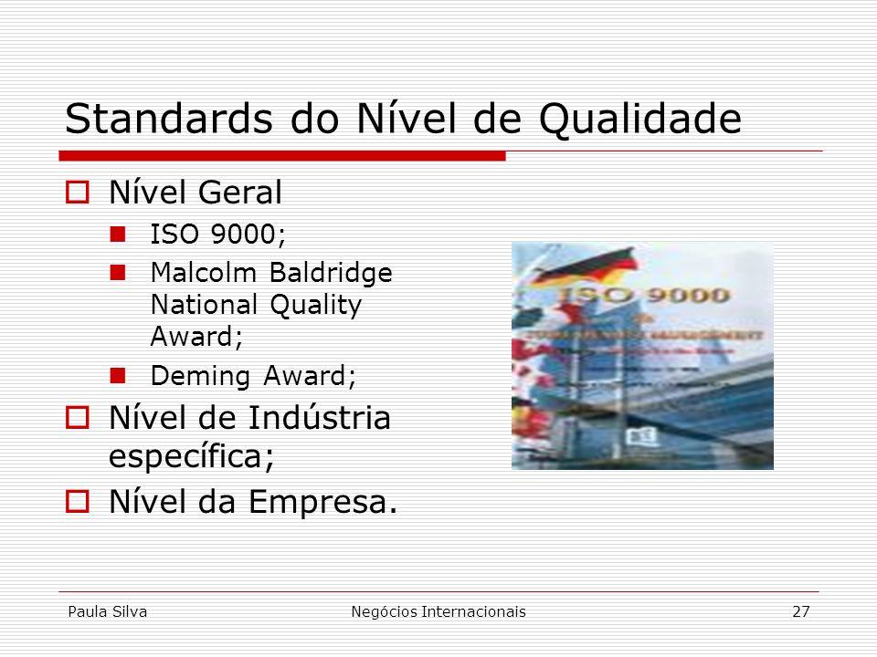 Paula SilvaNegócios Internacionais27 Standards do Nível de Qualidade Nível Geral ISO 9000; Malcolm Baldridge National Quality Award; Deming Award; Nív