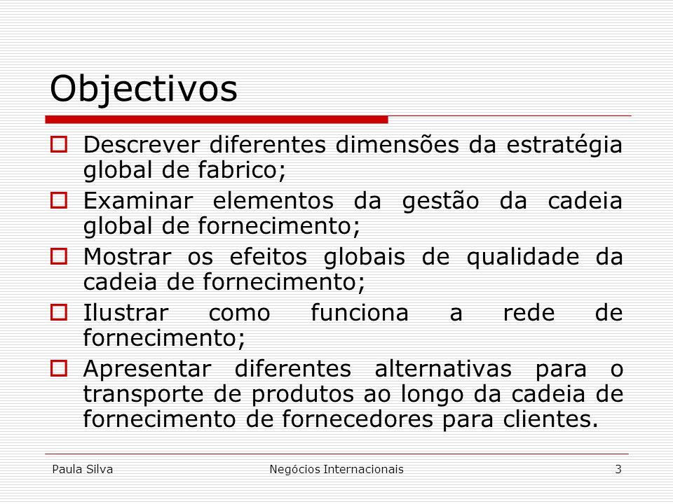 Paula SilvaNegócios Internacionais3 Objectivos Descrever diferentes dimensões da estratégia global de fabrico; Examinar elementos da gestão da cadeia
