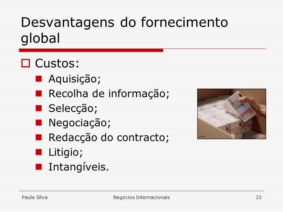 Paula SilvaNegócios Internacionais33 Desvantagens do fornecimento global Custos: Aquisição; Recolha de informação; Selecção; Negociação; Redacção do c