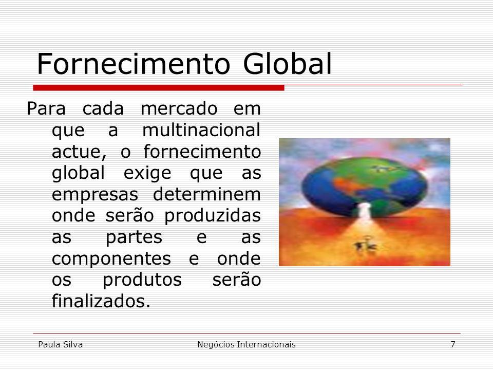 Paula SilvaNegócios Internacionais7 Para cada mercado em que a multinacional actue, o fornecimento global exige que as empresas determinem onde serão