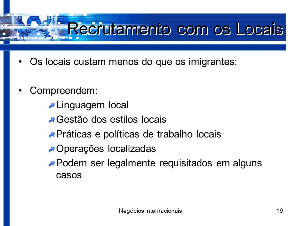 Negócios Internacionais19 Recrutamento com os Locais Os locais custam menos do que os imigrantes; Compreendem: Linguagem local Gestão dos estilos locais Práticas e políticas de trabalho locais Operações localizadas Podem ser legalmente requisitados em alguns casos
