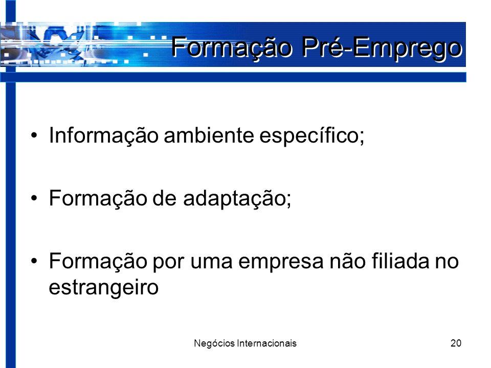 Negócios Internacionais20 Formação Pré-Emprego Informação ambiente específico; Formação de adaptação; Formação por uma empresa não filiada no estrangeiro