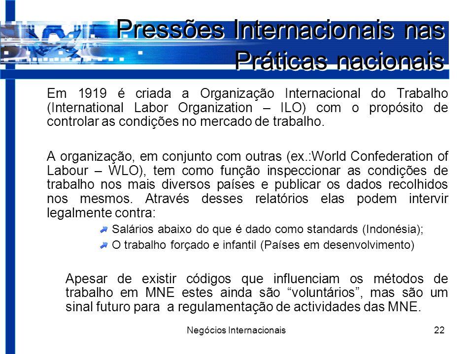 Negócios Internacionais22 Pressões Internacionais nas Práticas nacionais Em 1919 é criada a Organização Internacional do Trabalho (International Labor Organization – ILO) com o propósito de controlar as condições no mercado de trabalho.