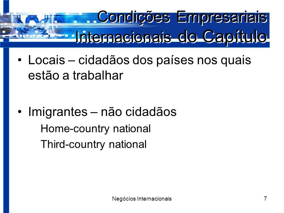 Negócios Internacionais7 Condições Empresariais Internacionais do Capítulo Locais – cidadãos dos países nos quais estão a trabalhar Imigrantes – não cidadãos Home-country national Third-country national