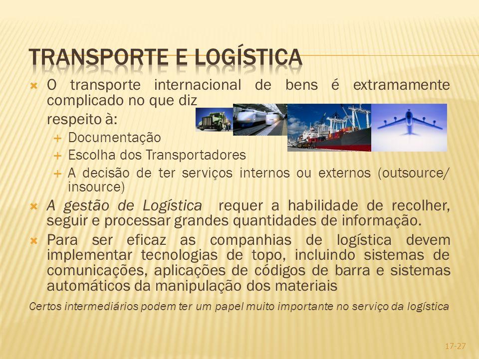 O transporte internacional de bens é extramamente complicado no que diz respeito à: Documentação Escolha dos Transportadores A decisão de ter serviços