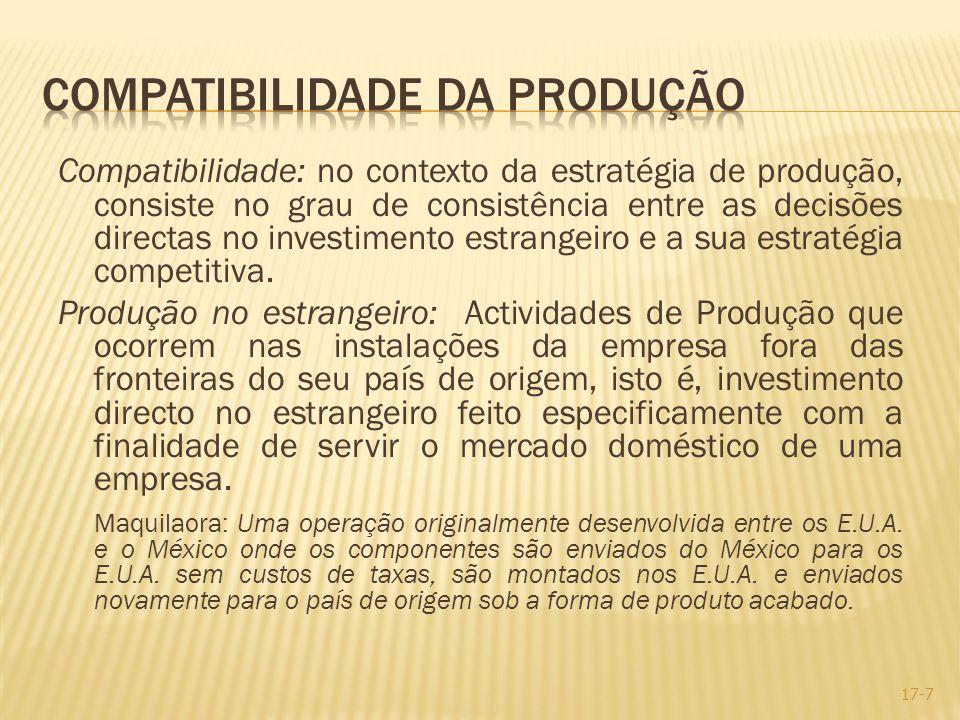 Compatibilidade: no contexto da estratégia de produção, consiste no grau de consistência entre as decisões directas no investimento estrangeiro e a su