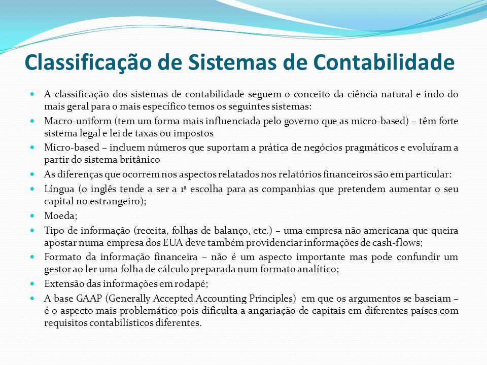 Classificação de Sistemas de Contabilidade A classificação dos sistemas de contabilidade seguem o conceito da ciência natural e indo do mais geral par