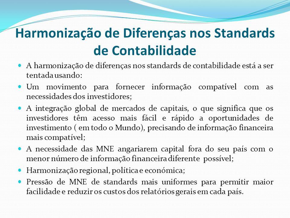 Harmonização de Diferenças nos Standards de Contabilidade A harmonização de diferenças nos standards de contabilidade está a ser tentada usando: Um mo