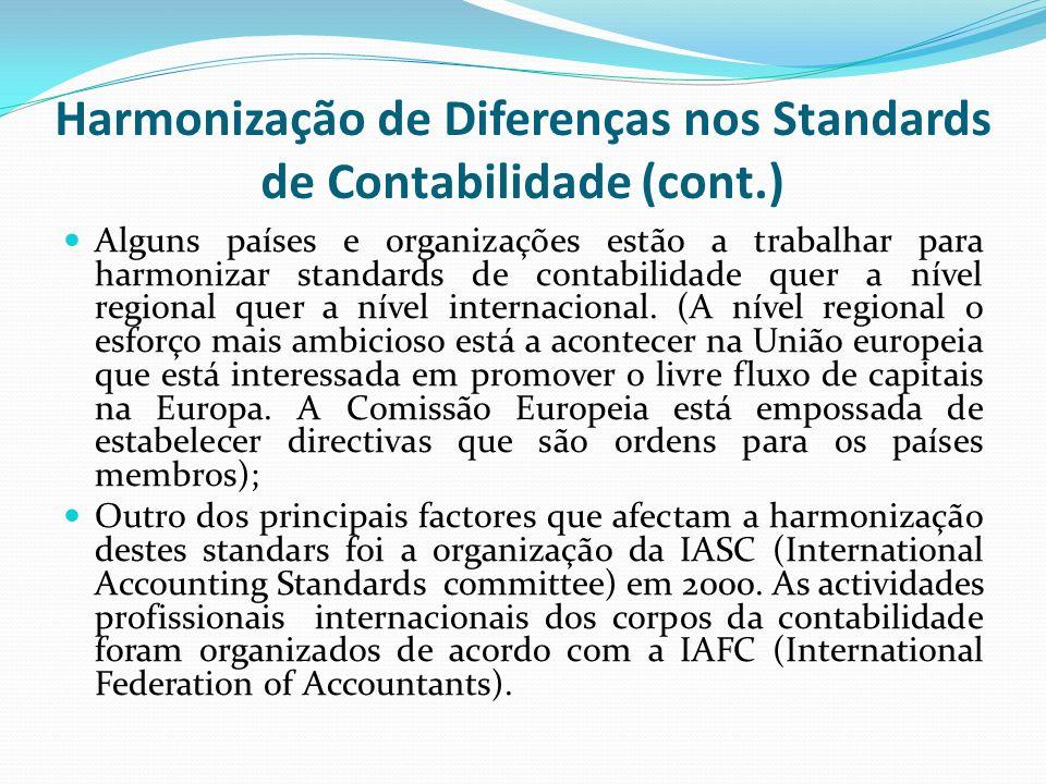 Alguns países e organizações estão a trabalhar para harmonizar standards de contabilidade quer a nível regional quer a nível internacional. (A nível r