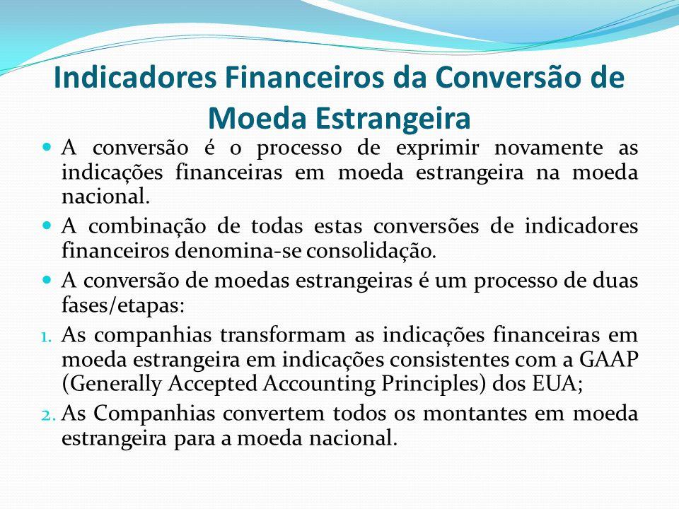 Indicadores Financeiros da Conversão de Moeda Estrangeira A conversão é o processo de exprimir novamente as indicações financeiras em moeda estrangeir
