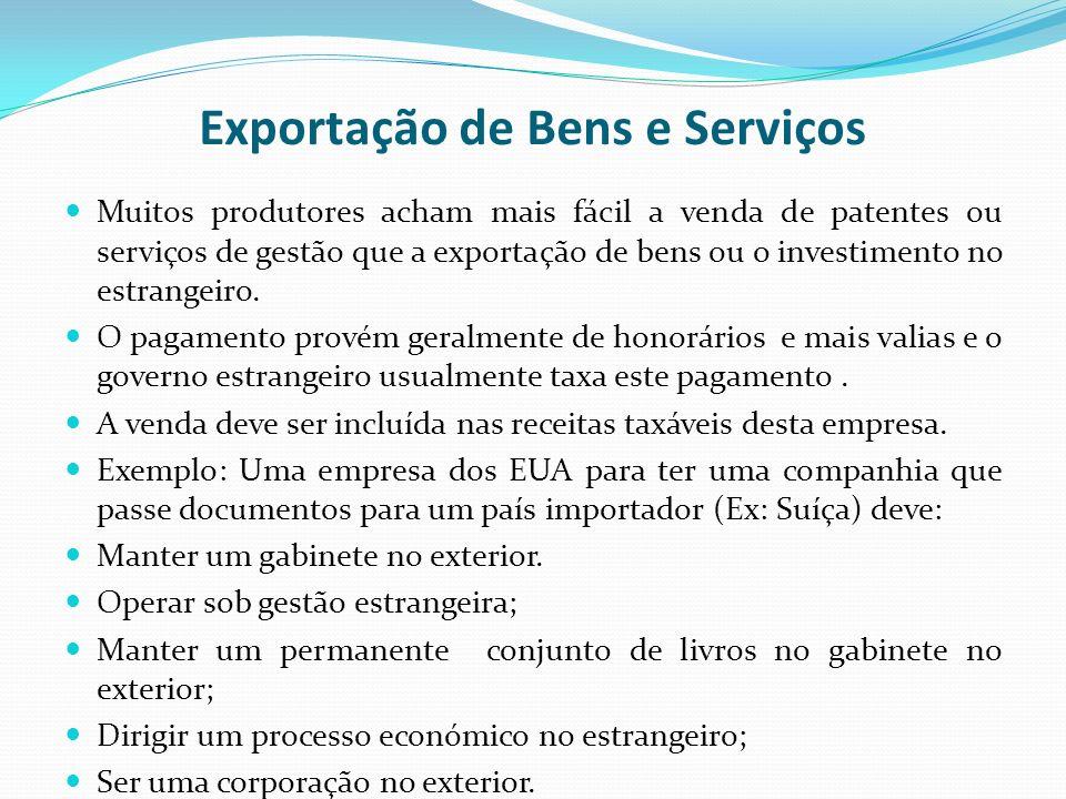 Exportação de Bens e Serviços Muitos produtores acham mais fácil a venda de patentes ou serviços de gestão que a exportação de bens ou o investimento