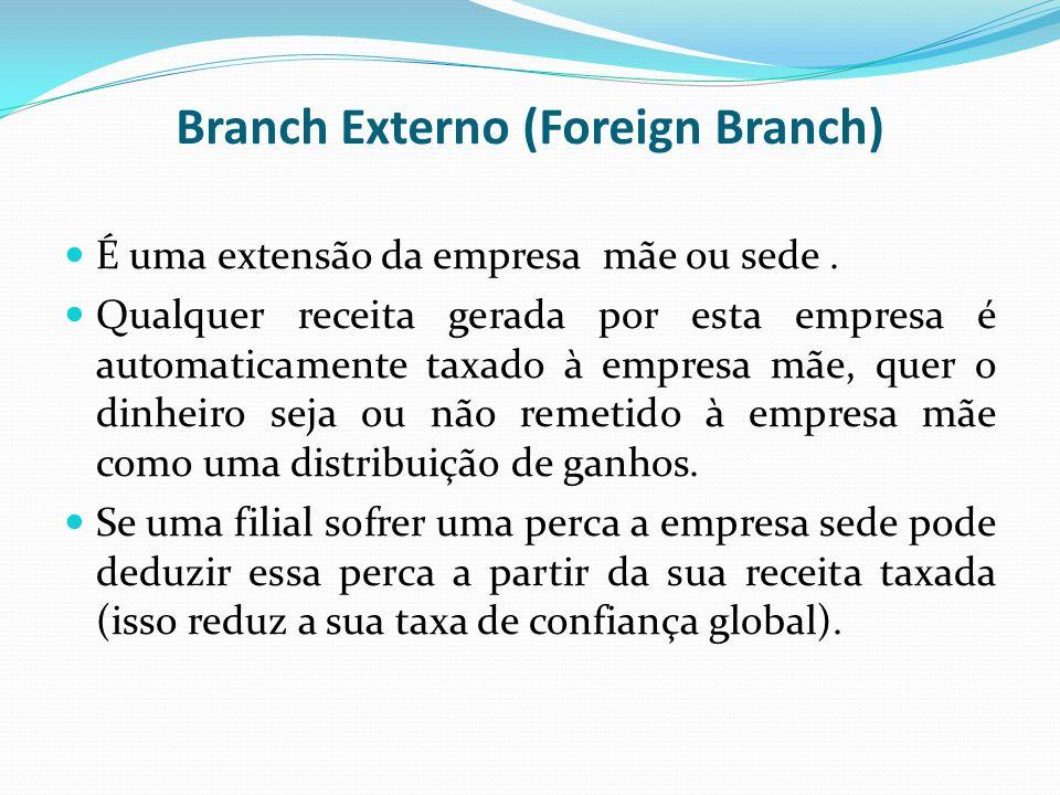 Branch Externo (Foreign Branch) É uma extensão da empresa mãe ou sede. Qualquer receita gerada por esta empresa é automaticamente taxado à empresa mãe