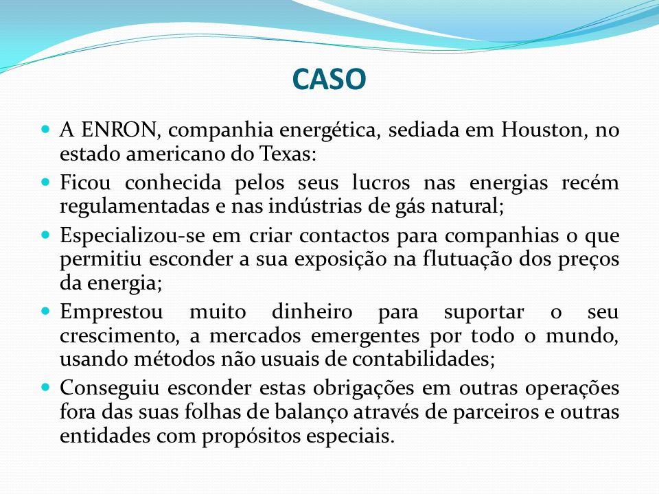 CASO A ENRON, companhia energética, sediada em Houston, no estado americano do Texas: Ficou conhecida pelos seus lucros nas energias recém regulamenta