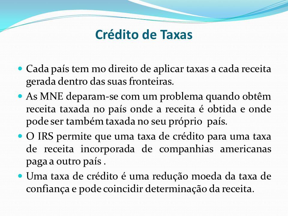 Crédito de Taxas Cada país tem mo direito de aplicar taxas a cada receita gerada dentro das suas fronteiras. As MNE deparam-se com um problema quando