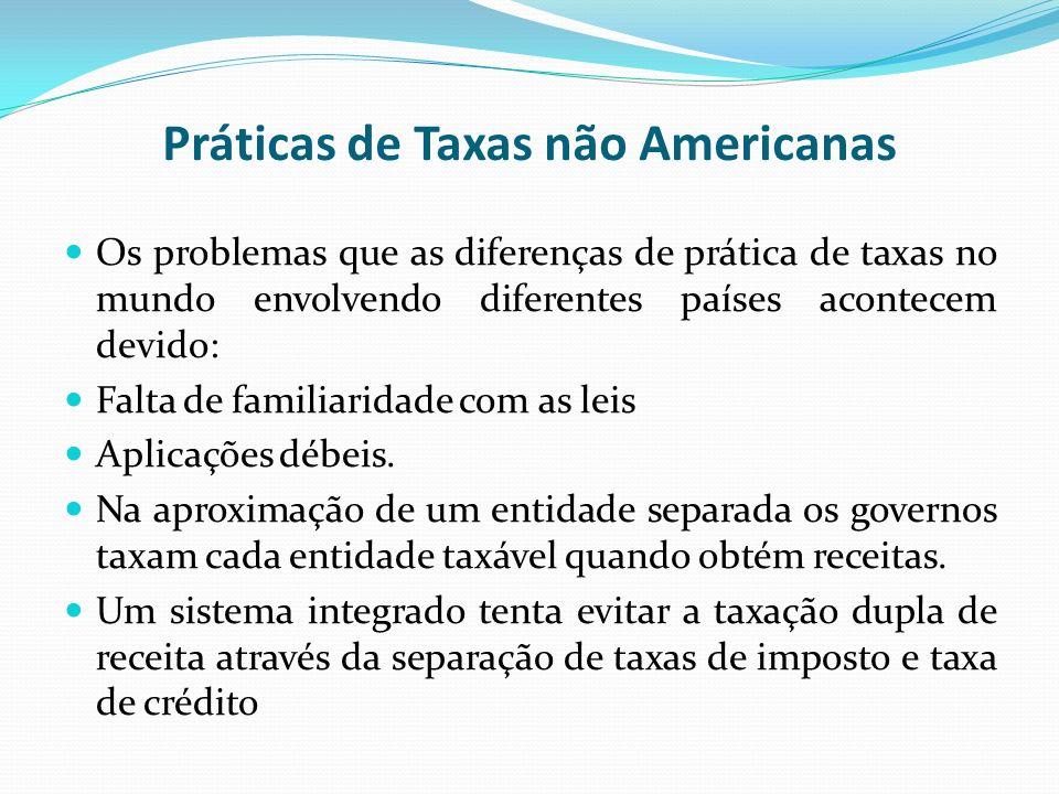 Práticas de Taxas não Americanas Os problemas que as diferenças de prática de taxas no mundo envolvendo diferentes países acontecem devido: Falta de f