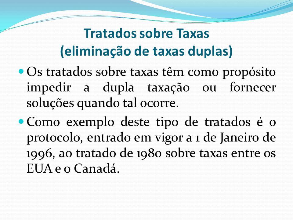Tratados sobre Taxas (eliminação de taxas duplas) Os tratados sobre taxas têm como propósito impedir a dupla taxação ou fornecer soluções quando tal o