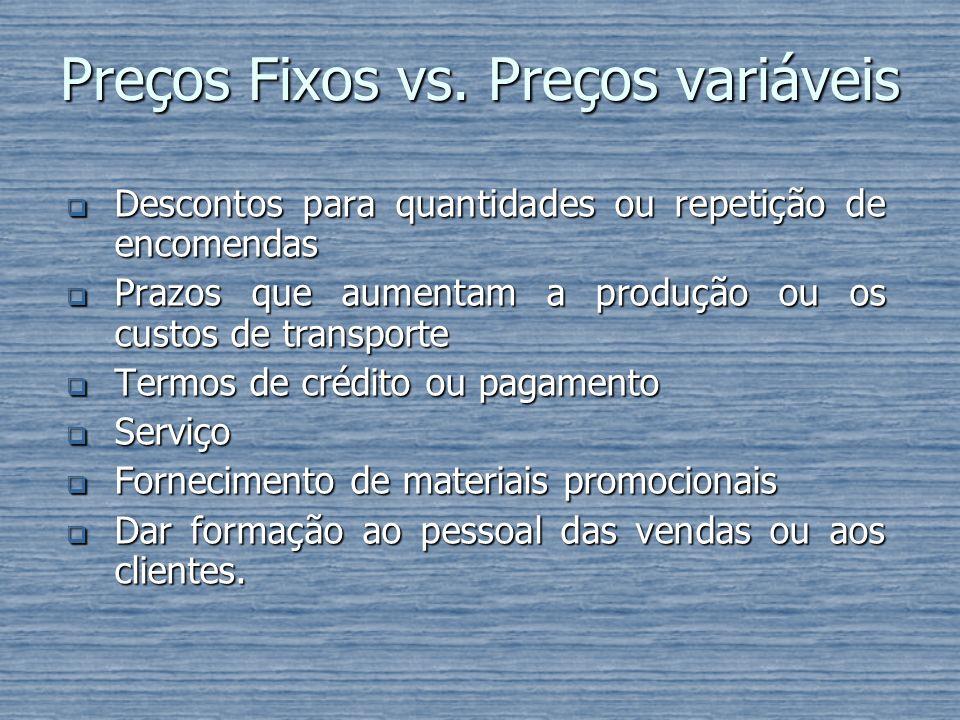 Preços Fixos vs. Preços variáveis Descontos para quantidades ou repetição de encomendas Descontos para quantidades ou repetição de encomendas Prazos q