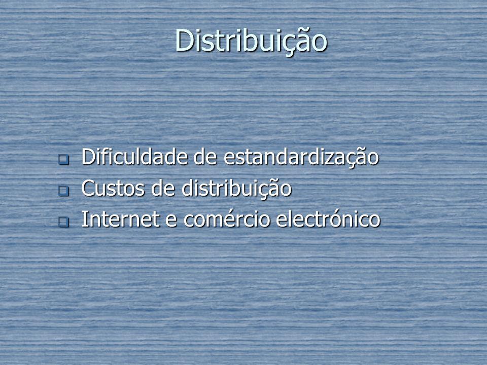 Distribuição Dificuldade de estandardização Dificuldade de estandardização Custos de distribuição Custos de distribuição Internet e comércio electróni