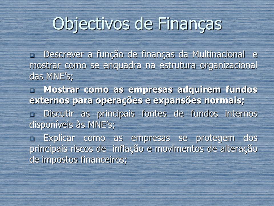 Objectivos de Finanças Descrever a função de finanças da Multinacional e mostrar como se enquadra na estrutura organizacional das MNEs; Descrever a fu