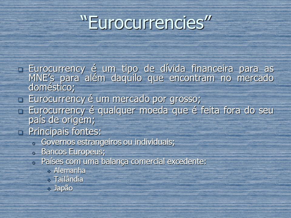 Eurocurrencies Eurocurrency é um tipo de dívida financeira para as MNEs para além daquilo que encontram no mercado doméstico; Eurocurrency é um tipo d