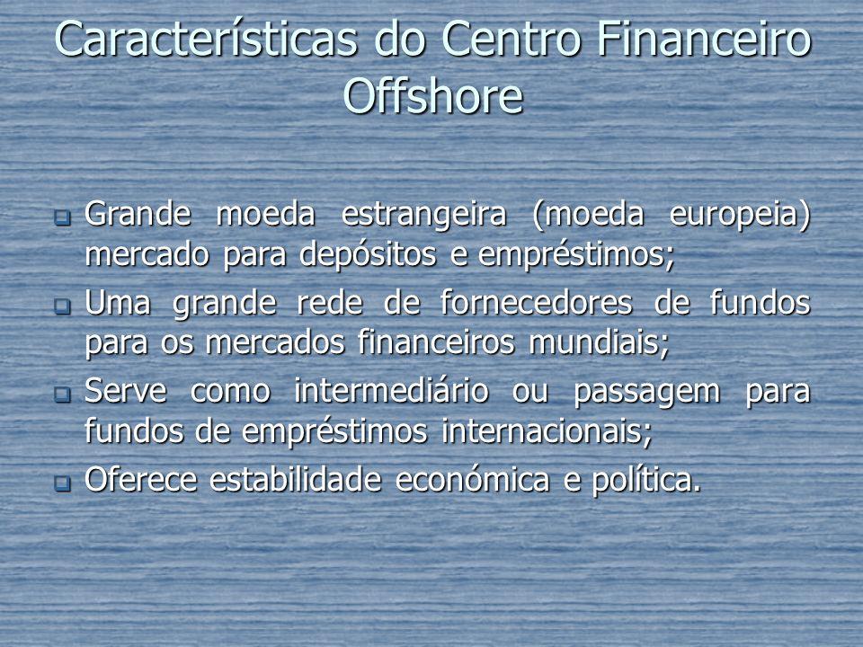 Características do Centro Financeiro Offshore Grande moeda estrangeira (moeda europeia) mercado para depósitos e empréstimos; Grande moeda estrangeira