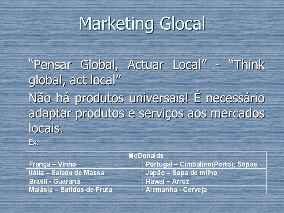 Marketing Glocal Pensar Global, Actuar Local - Think global, act local Não há produtos universais! É necessário adaptar produtos e serviços aos mercad