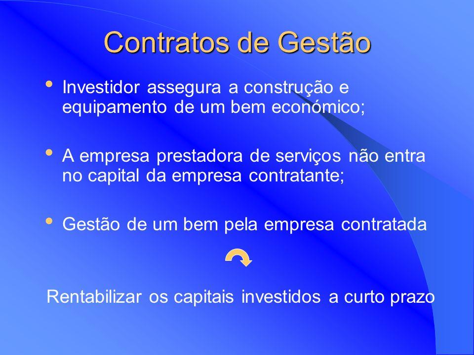 Contratos de Gestão Contratos de gestão são meios pelos quais uma empresa pode transferir talentos de gestão para dar apoio a uma empresa estrangeira