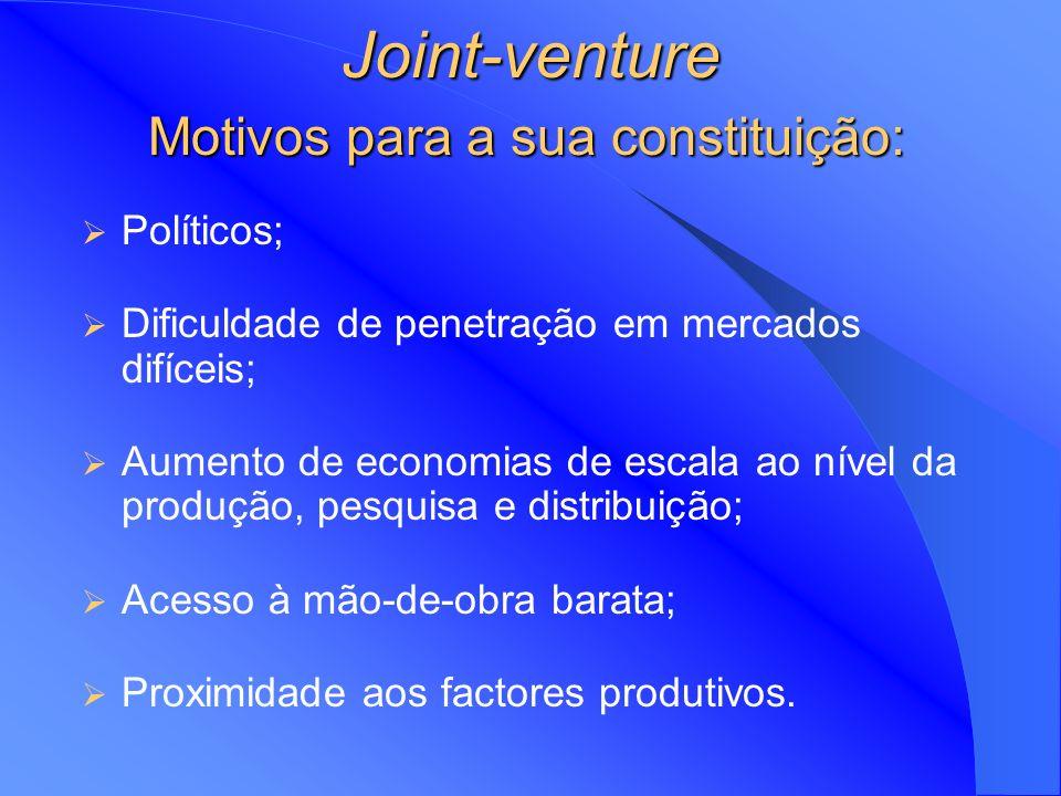 Joint-Ventures Tipo de propriedade popular partilhada entre empresas internacionais Duas empresas de um mesmo país entram num mercado estrangeiro Empr