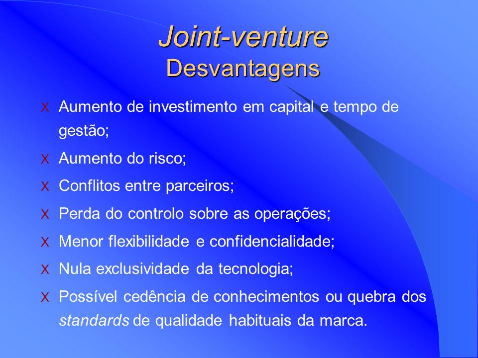 Partilha do investimento, custos e riscos; Redução do risco político; Aceleração do desenvolvimento da tecnologia; Maior participação na gestão e envo