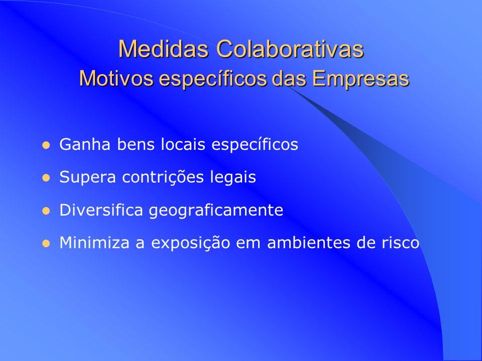 Problemas das Medidas Colaborativas Importância Colaborativa para os parceiros Objectivos divergentes Problemas de Controlo Contribuições e Apropriações dos parceiros (o elo mais fraco) Diferenças culturais