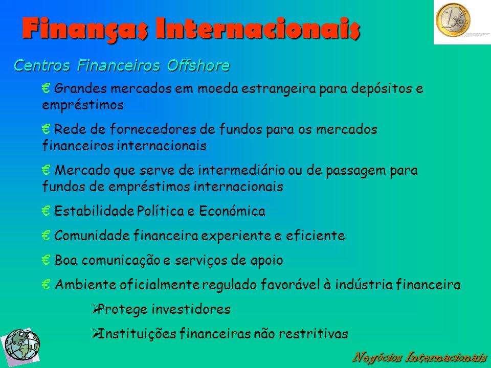 Finanças Internacionais Negócios Internacionais Centros Financeiros Offshore Grandes mercados em moeda estrangeira para depósitos e empréstimos Rede d