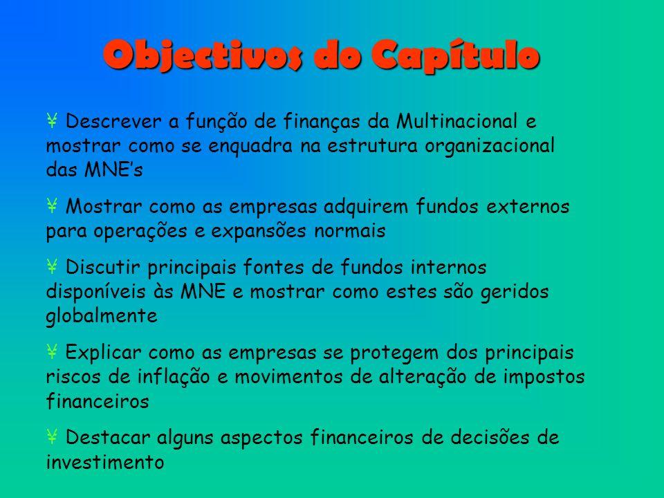 Objectivos do Capítulo ¥ Descrever a função de finanças da Multinacional e mostrar como se enquadra na estrutura organizacional das MNEs ¥ Mostrar com