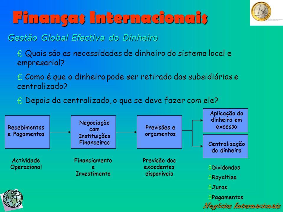 Finanças Internacionais Negócios Internacionais Gestão Global Efectiva do Dinheiro £ Quais são as necessidades de dinheiro do sistema local e empresar