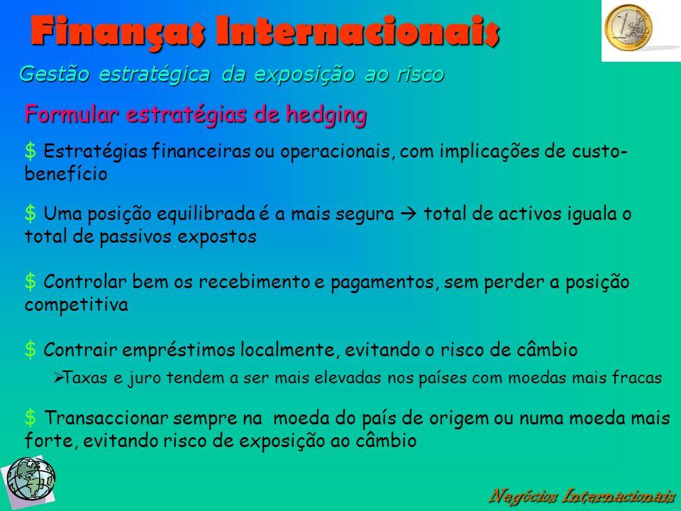 Negócios Internacionais Gestão estratégica da exposição ao risco Formular estratégias de hedging $ Estratégias financeiras ou operacionais, com implic