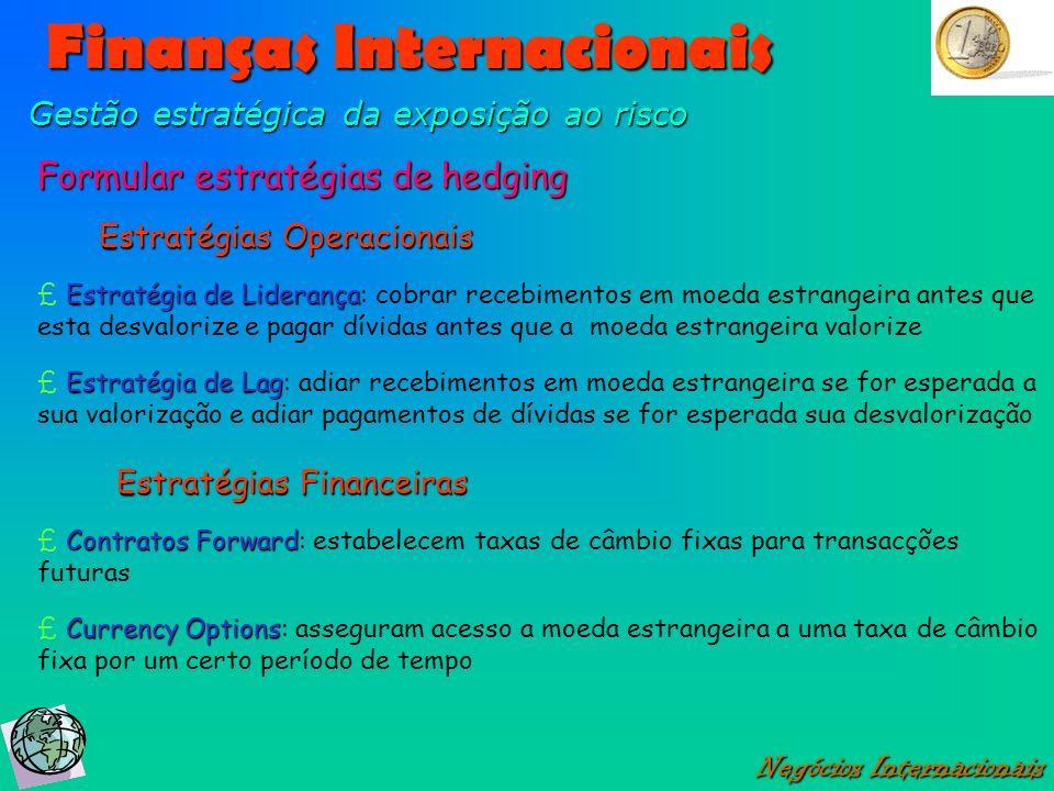 Finanças Internacionais Negócios Internacionais Gestão estratégica da exposição ao risco Formular estratégias de hedging Estratégia de Liderança £ Est