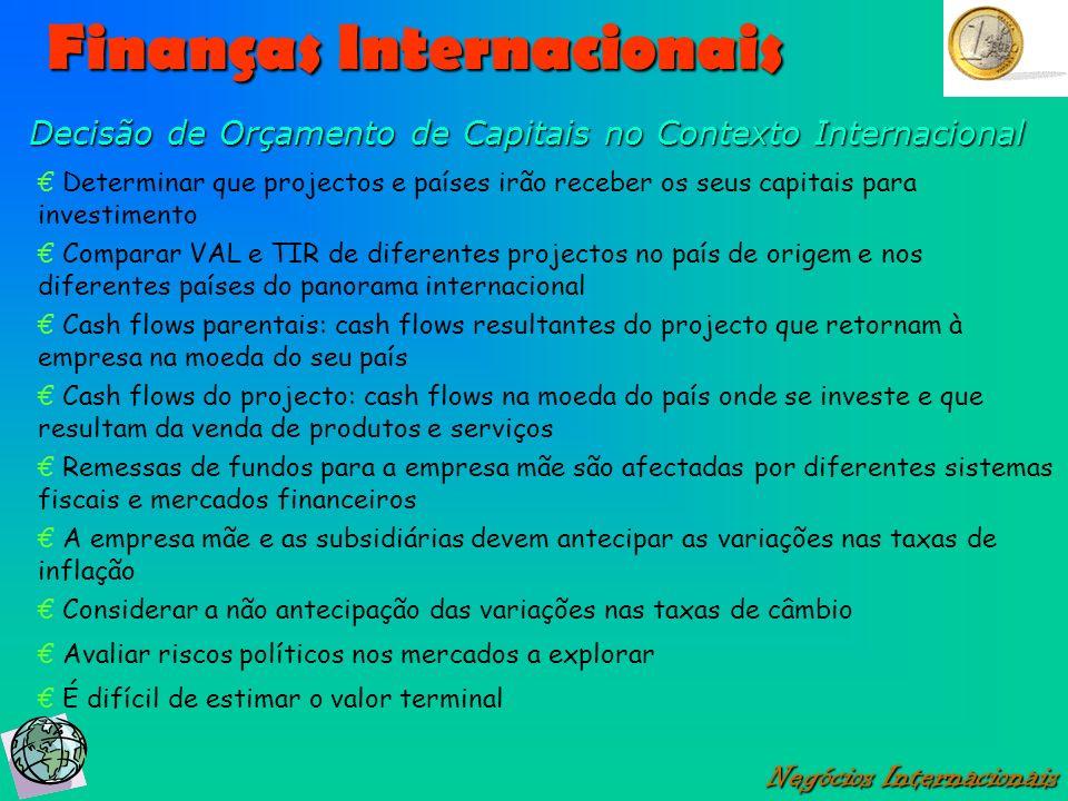 Finanças Internacionais Negócios Internacionais Decisão de Orçamento de Capitais no Contexto Internacional Determinar que projectos e países irão rece
