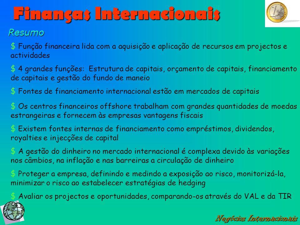 Finanças Internacionais Negócios Internacionais Resumo $ Função financeira lida com a aquisição e aplicação de recursos em projectos e actividades $ 4