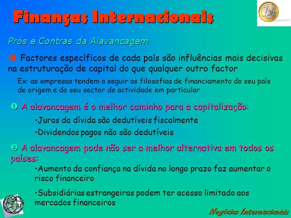 Finanças Internacionais Negócios Internacionais Prós e Contras da Alavancagem Factores específicos de cada país são influências mais decisivas na estr