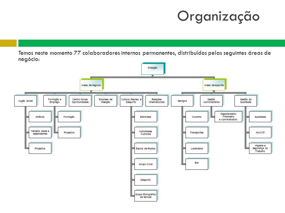 Organização Temos neste momento 77 colaboradores internos permanentes, distribuídos pelas seguintes áreas de negócio: Direcção Áreas de negócio Acção