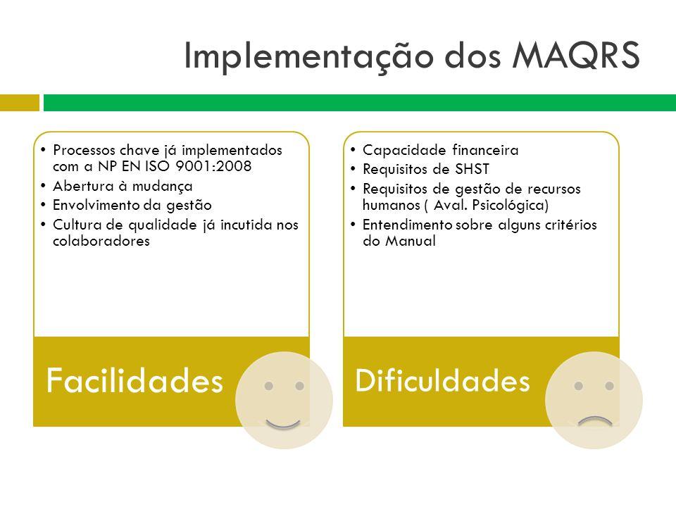 Implementação dos MAQRS Processos chave já implementados com a NP EN ISO 9001:2008 Abertura à mudança Envolvimento da gestão Cultura de qualidade já i