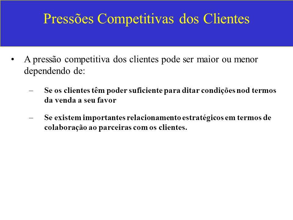 Pressões Competitivas dos Clientes A pressão competitiva dos clientes pode ser maior ou menor dependendo de: –Se os clientes têm poder suficiente para