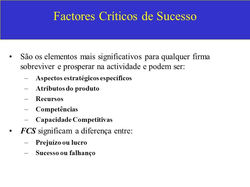 Factores Críticos de Sucesso São os elementos mais significativos para qualquer firma sobreviver e prosperar na actividade e podem ser: –Aspectos estr